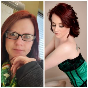 red hair with blue eyes wearing black and green corset. Before and after